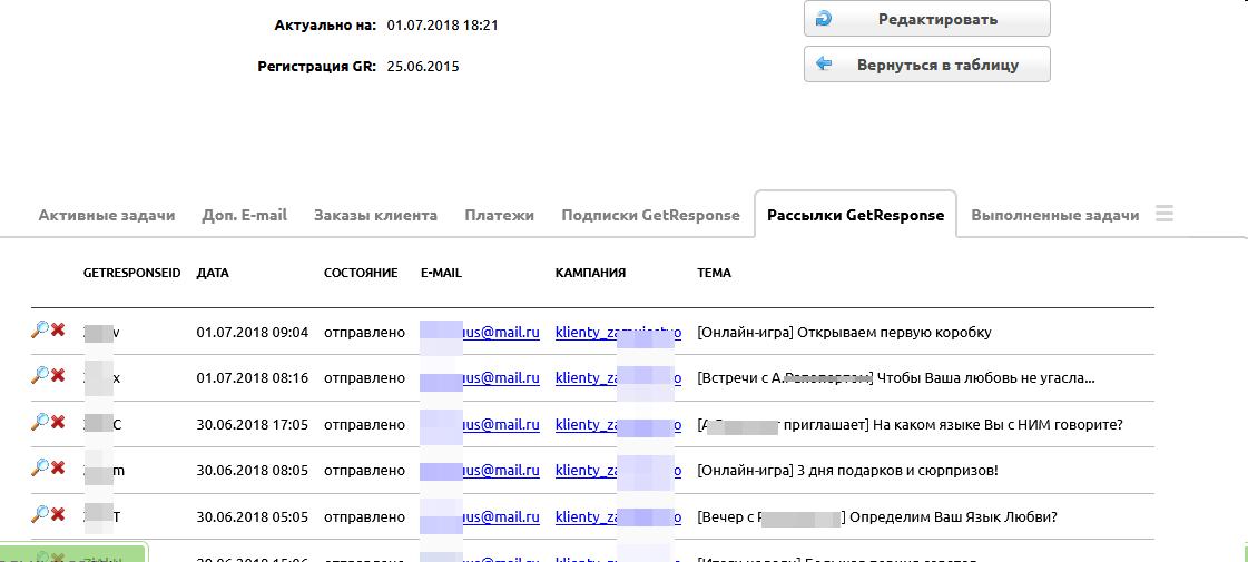 Интеграция CRM с рассылками email GetResponse
